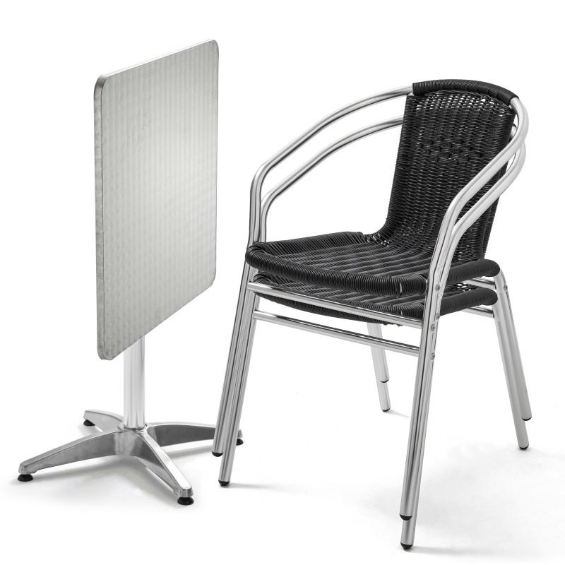 Table carrée alu CHR et 2 fauteuils résine noire