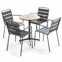 Table ronde plateau béton effet bois et  4 fauteuils en métal