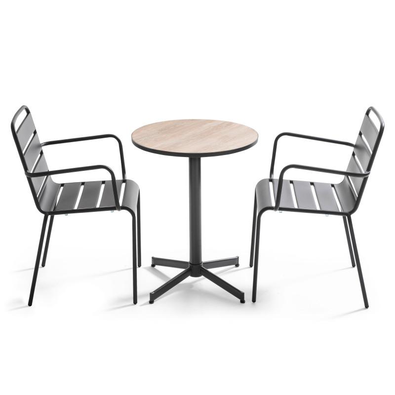 Table bistro ronde indus et 2 chaises en métal avec accoudoirs