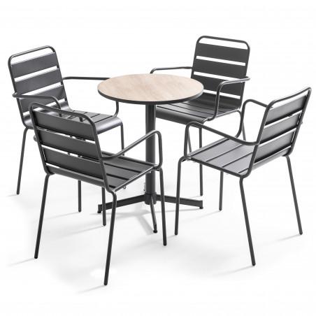 Table bistro ronde effet bois et 4 chaises en métal