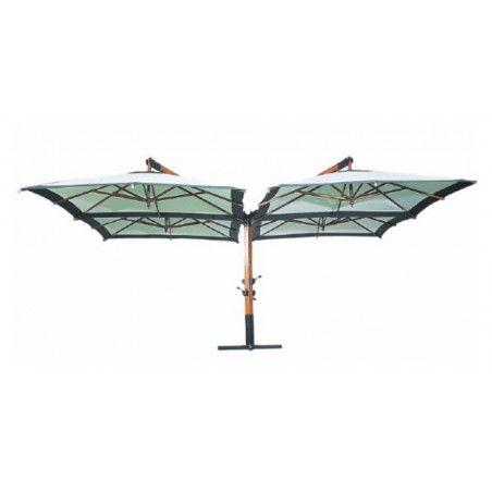 Quadruple parasol déporté PRO 4x 3x3m gris
