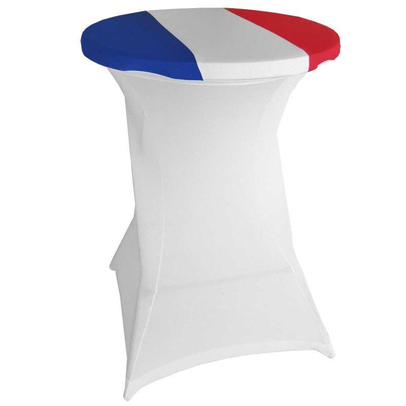 Top élastique pour mange-debout 80cm drapeau français