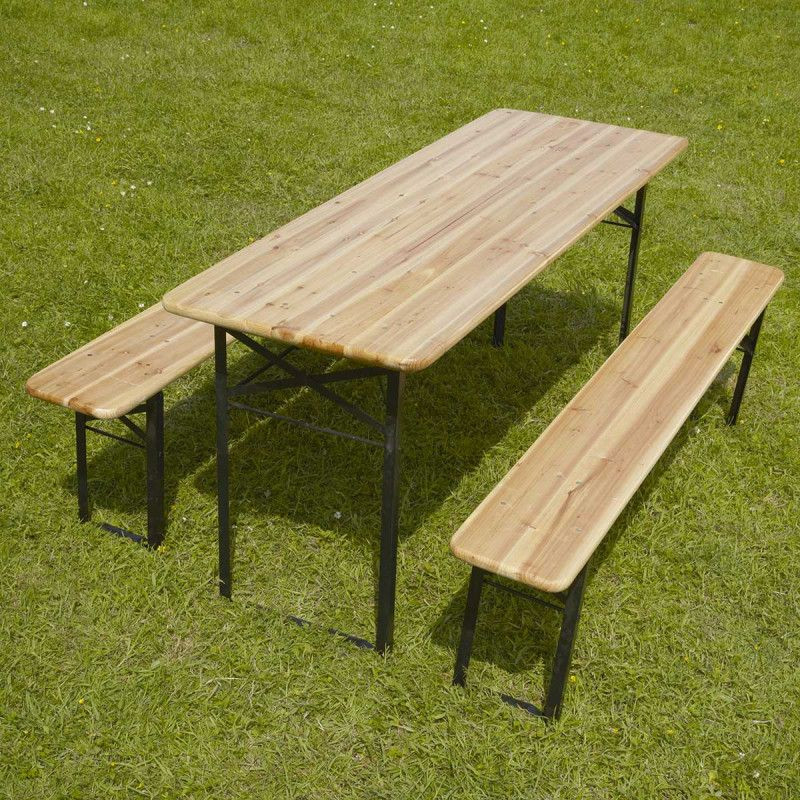 Table et banc pliant bois mobeventpro for Table banc exterieur