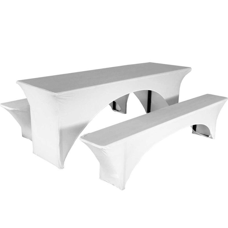 nappe housse blanche pour table et bancs pliants. Black Bedroom Furniture Sets. Home Design Ideas