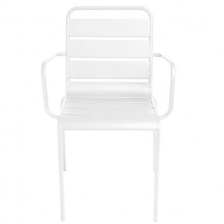 Chaise terrasse CHR blanche metal PALAVAS