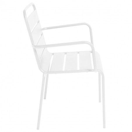Chaise terrasse CHR blanche metal PALAVAS | Mobeventpro