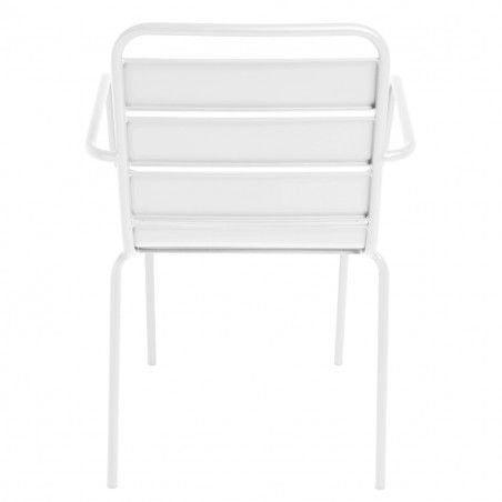 Chaise terrasse CHR blanche metal PALAVAS empilable