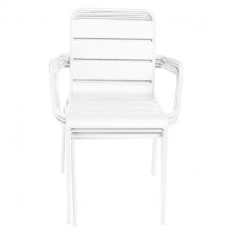 Chaise terrasse CHR blanche metal PALAVAS Mobilier CHR