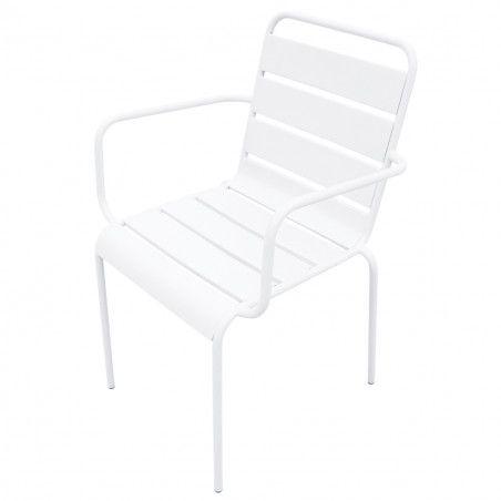 Chaise terrasse CHR blanche metal PALAVAS pas cher