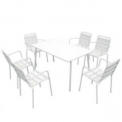 Salon de jardin 6 places et fauteuils blanc