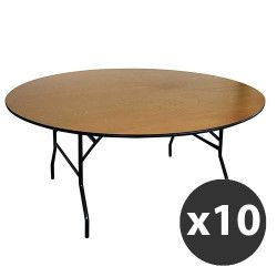 Lot de 10 Tables pliantes rondes en bois 170cm 10 places