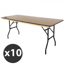 Table pliante en bois 180 cm - Lot de 10