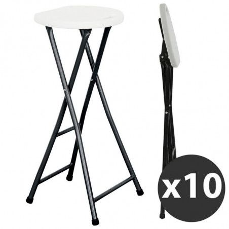 Tabouret de bar pliant - Lot de 10