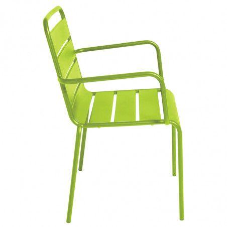 Chaise verte en métal   Mobeventpro