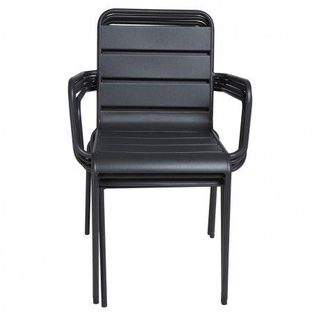 fauteuils de terrasse en métal gris empilable