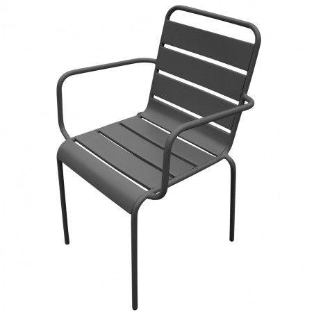 fauteuils de terrasse gris Lot de 4