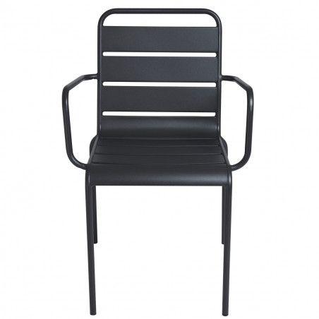 fauteuils de terrasse en métal gris pas cher
