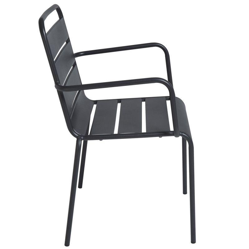 fauteuils terrasse en métal gris