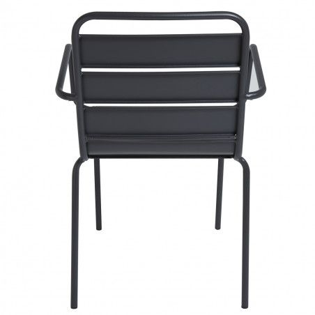 fauteuils terrasse restaurant en métal gris Lot de 4