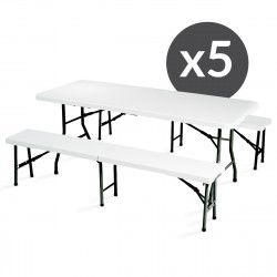 Table et bancs pliants 8 places - Lot de 5