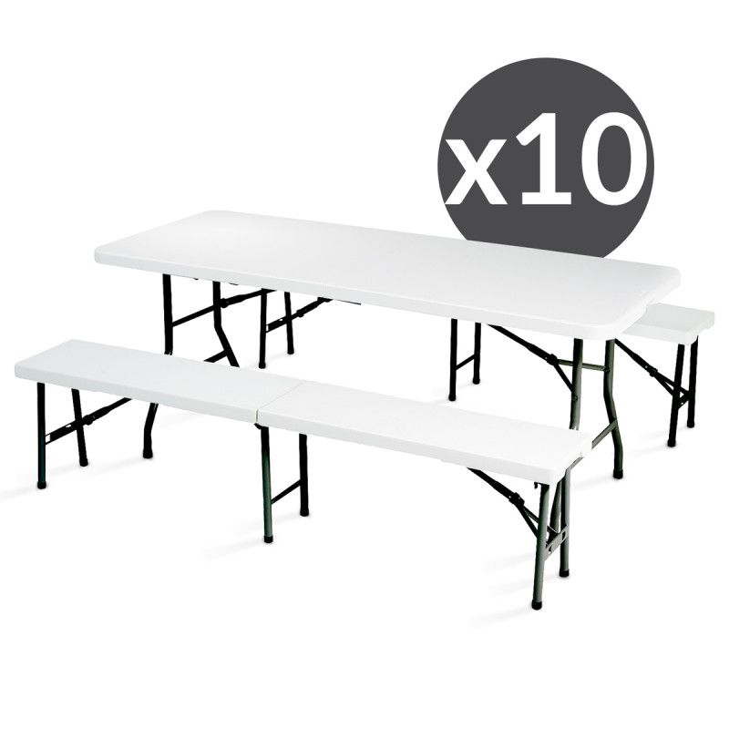 Tables et bancs pliants 180 cm - Lot de 10