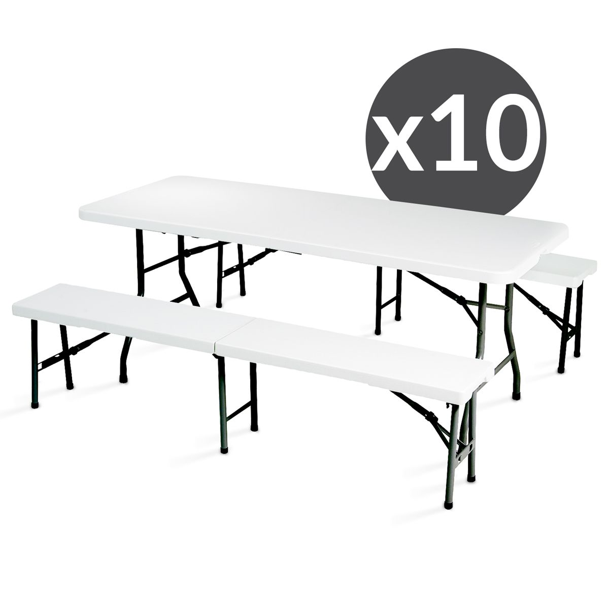 table et bancs pliants table pliante bancs pliants neuve ensemble festivites eco table x cm et. Black Bedroom Furniture Sets. Home Design Ideas