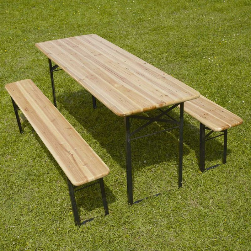 Table et bancs bois Brasserie 220 cm - Lot de 5