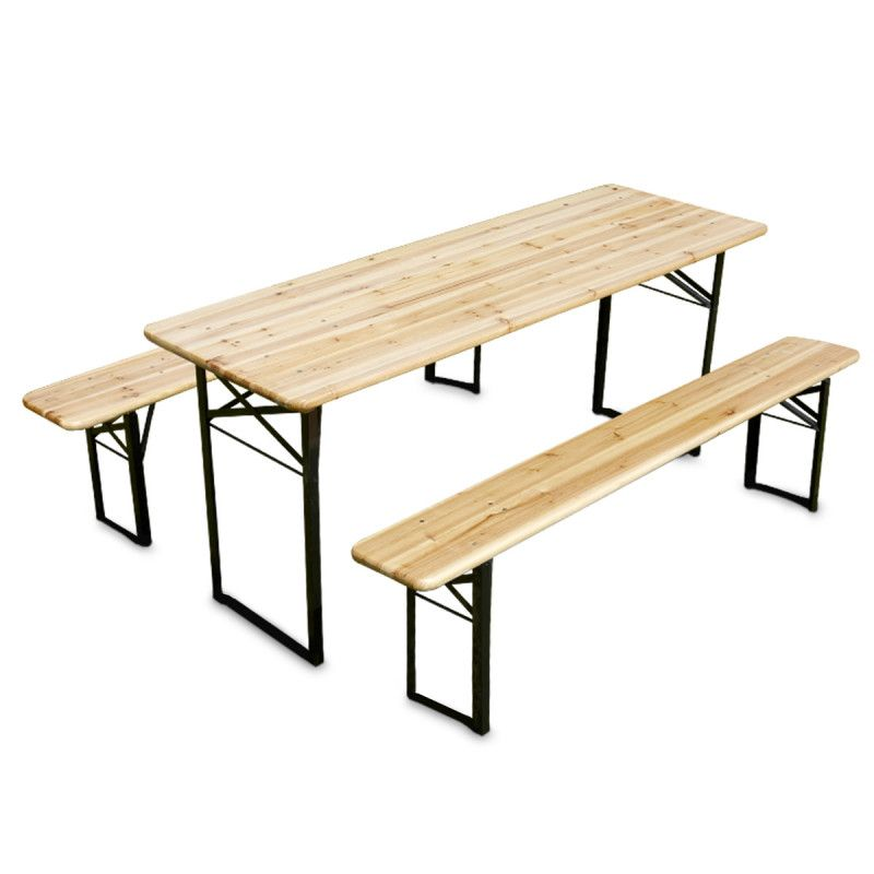 Table brasserie et bancs pliants en bois mobeventpro for Table banc exterieur