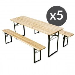 Ensemble Brasserie Table et bancs en bois 180cm - Lot de 5