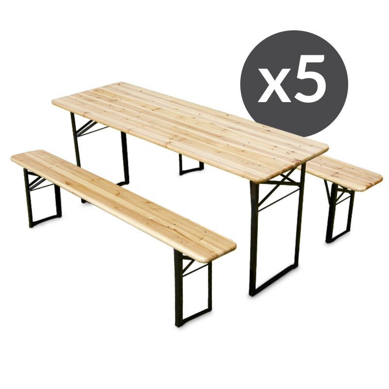 Ensemble brasserie table et bancs bois mobeventpro - Table brasserie pliante occasion ...
