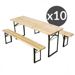 Ensemble Brasserie Table et bancs bois 180 cm - Lot de 10