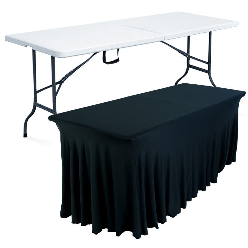 table pliante 8 places et nappe mobeventpro. Black Bedroom Furniture Sets. Home Design Ideas
