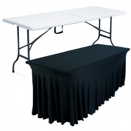 table pliante + nappe noire
