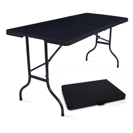 table pliante en plastique noir forme valise