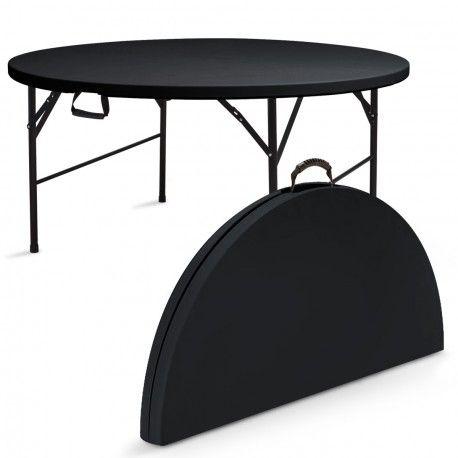 table pliante ronde en plastique noir