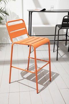 Tabouret extérieur en métal orange PALAVAS