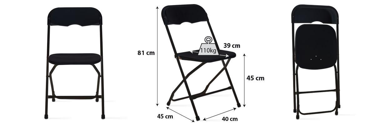 Achat chaise pliante noire pas cher qualité pro
