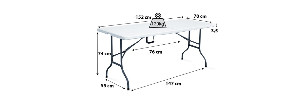 Table pliante blanche 6 personnes 150cm