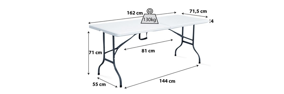Table pliante blanche 6 personnes 160cm