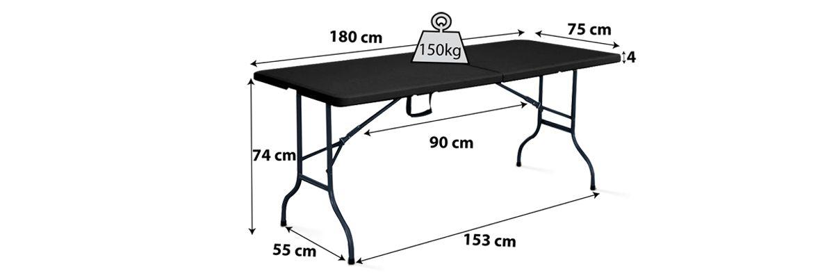 Table pliante 180cm noire pas cher