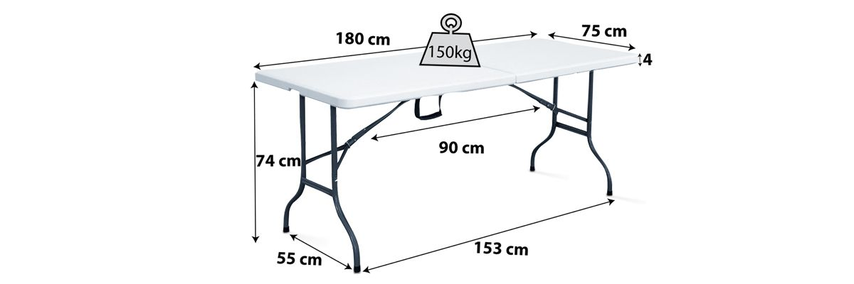 Table pliante blanche 8 personnes