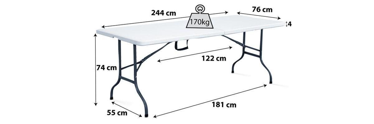 Table pliante blanche 10 personnes
