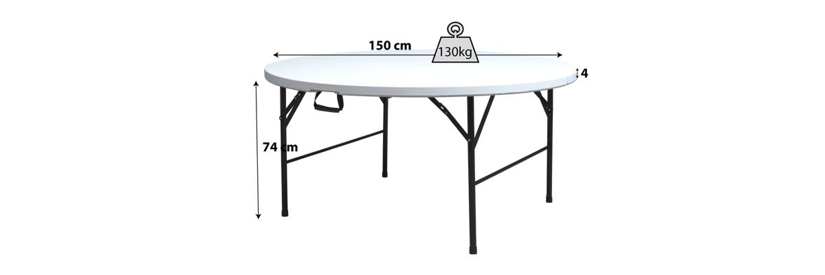 Table pliante ronde 8 places mobeventpro for Table ronde 8 personnes dimensions