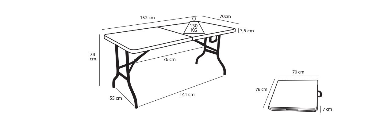 Table pliante réception 6 places pas cher