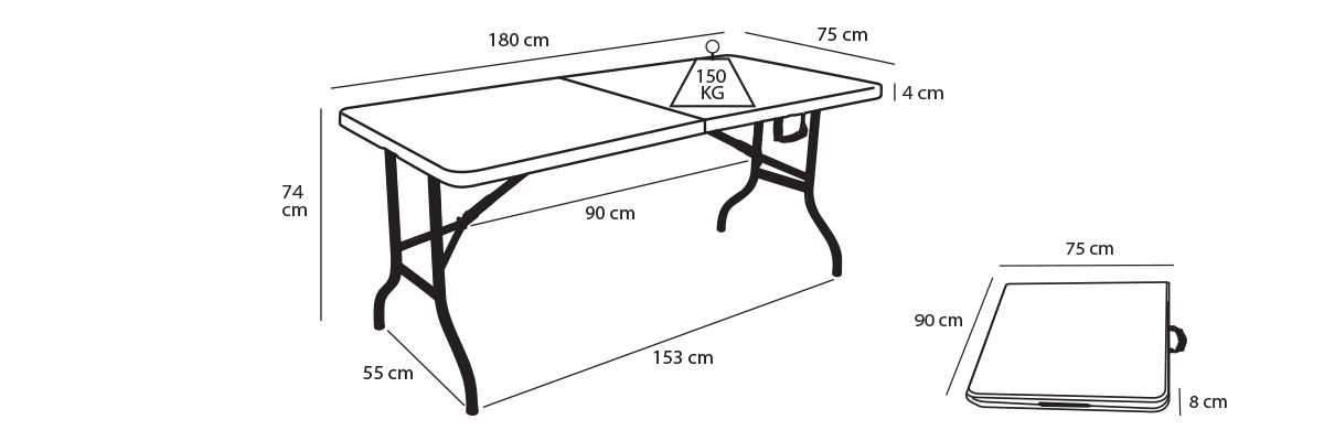 Table pliante rectangulaire 8 places mobeventpro for Table pliante exterieur professionnel