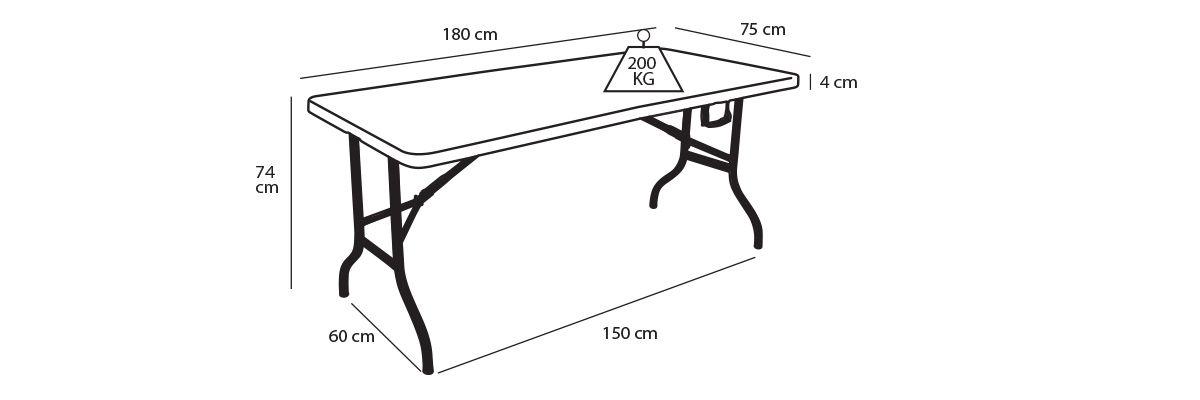 Table pliante monobloc 8 personnes pas cher