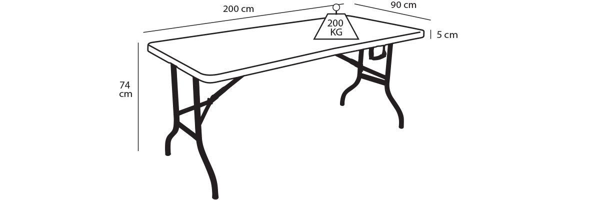 Table pliante MONOBLOC 200cm