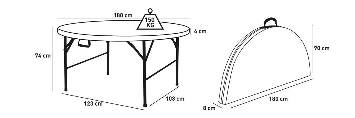 Acheter table ronde 180cm promo