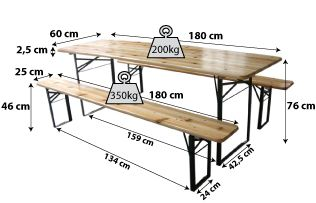 Set table + bancs en bois 180cm_3