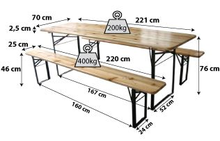 Set table + bancs en bois 220cm_4